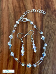 """20.00 resell for 60.00 or more Swarovski crystal. April Birthstone Diamond crystal w Clear AB  7.5"""" plus ext Bracelet and Earring set Surgical steel ear wires Made by Ashley  Style #APRSBFBS110118"""