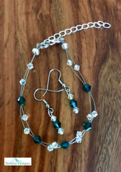 "20.00 resell for 60.00 or more Swarovski crystal. May Birthstone Emerald  crystal w Clear AB  7.5"" plus ext Bracelet and Earring set Surgical steel ear wires Made by Ashley  Style #MAYSBFBS110118"