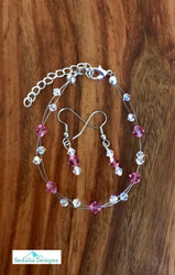 """20.00 resell for 60.00 or more Swarovski crystal. October Birthstone Rose  crystal w Clear AB  7.5"""" plus ext Bracelet and Earring set Surgical steel ear wires Made by Ashley  Style #OCTSFBS110218"""