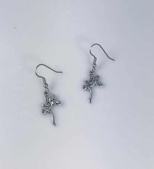 Resell for 6.00 or more Pewter fairy Surgical steel ear wires Style #FHE110518