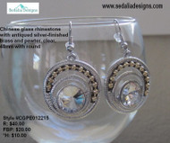 Chinese glass rhinestone with antiqued silver-finished brass & pewter earrings. Clear, 48mm with round