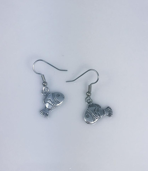 Resell for 7.00 or more Pewter clown fish Surgical steel ear wires Style #CFE110618