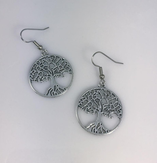 Resell for 9.00 or more Pewter tree of life  Surgical steel ear wires Style #BTLE110618