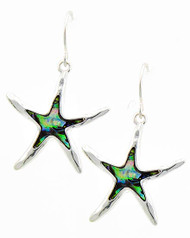 "12.00 resell for 36.00 or more Antique Silver Tone / Green Abalone Shell Epoxy / Lead&nickel Compliant / Metal / Fish Hook / Starfish Dangle / Earring Set  •   DROP LENGTH : 1 3/8""	 •   SILVER/ABALONE  Style #ASFE110618"