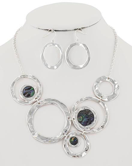 """22.00 resell for 66.00 or more Silver Tone / Multi Color Abalone Shell Epoxy / Lead&nickel Compliant / Metal / Fish Hook (earrings) / Necklace & Earring Set  •   LENGTH : 16"""" + EXT •   EARRING : 1 1/8"""" X 1 3/8"""" •   DROP : 2 5/8"""" •   SILVER/MULTI  Style #AHCNS110618"""