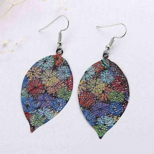 "resell for 18.00 or more Filigree Stamping Earrings Leaf Multicolor Enamel 66mm(2 5/8"") x 27mm(1 1/8"") Style #LLFSLE110818"