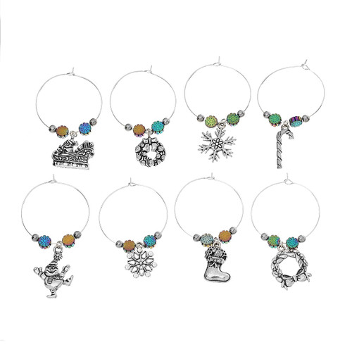 """resell for 24.00 or more Wine Glass Charms Mixed Christmas Decorations Antique Silver AB Color Hematite Beads 40mm(1 5/8"""") x 35mm(1 3/8""""), 1 Set(8 PCs/Set) Style #CWCS110818"""