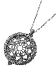 "resell for 66.00  Antique Silver Tone / Clear Magnifying Glass / Lead&nickel Compliant / Metal / Religious / Mandala / Long Necklace  •   LENGTH : 30"" + EXT •   PENDANT : 2"" X 1 1/2""	 •   SILVER  Style #MGN110918"