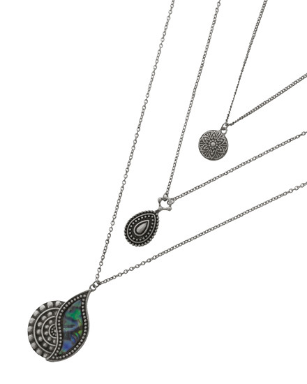 """resell for 60.00 or more Antique Silver Tone / Green Multi Color Abalone W/epoxy / Lead, Nickel & Cadmium Safe / Metal / Pendant / Flower / Teardrop / Multi Row / Necklace  •   LENGTH : 16 3/4"""" + EXT •   PENDANT : 1 3/16"""" X1 7/8"""" •   DROP : 8 3/8"""" •   SILVER  Style #LAN110918"""