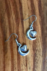 resell for 6.00 or more Pewter moon and heart earrings Style #MHE111218
