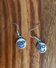 resell for 6.00 or more Pewter Emoji Heart Earrings surgical steel ear wires Style #HEE111218