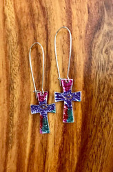 resell for 18.00 or more mylar / imitation rhodium-plated steel /pewter/  multicolored, 2-1/2 inches with cross and kidney ear wire Pink Purple  Style #PPMCE111218