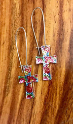 resell for 18.00 or more  mylar / imitation rhodium-plated steel /pewter/ multicolored, 2-1/2 inches with cross and kidney ear wire Multi Bright Color. Style #MBCCE111218