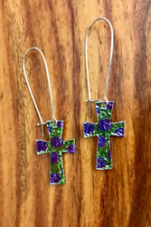 2 available 6.00 resell for 18.00 or more   mylar / imitation rhodium-plated steel /pewter/ multicolored, 2-1/2 inches with cross and kidney ear wire Purple Green  Style #PGMCE111218