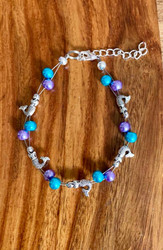 7.5 inch floating bracelet plus ext Purple and Teal glass Mermaid made by Ashley. Style #PTMFB111318
