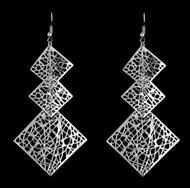 "resell for 12.00 or more 3.5"" x 1/.5"" silver tone laser lace drop earrings Style #LLDSE111418"