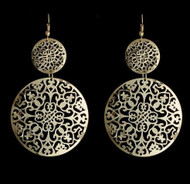 "resell for 12.00 or more 3.5"" x 1 3/4"" Laser Lace Silver Tone Circe Drop Earrings Style #LLSTCE111418"