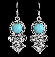 "resell for 15.00 or more 1 1/4"" long pewter with turquoise magnesite Etruscan style drop earrings Style #BCESDE111418"