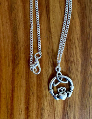 "resell for 12.00 or more 24"" curb chain silver tone Pewter Claddagh charm Style #CPN111518"