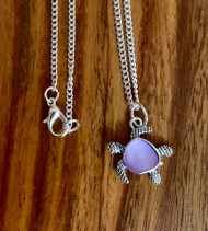 "resell for 15.00 or more **also at website 24 inch silver tone Curb chain Pewter turtle w pink/purple opulent German acrylic 3/4 x 3/4"" Style #PTN111518"