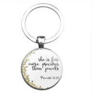 resell for 12.00 or more Bible Verse / Religious Keychain Proverbs 31:10 She is far more precious than jewels Style #BVKPROV111618