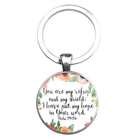 resell for 12.00 or more Bible Verse Keychain/ Religious Psalm 119:114 You are my refuge and my shield I have put my hope in your word. Style #BVKPSAL111618