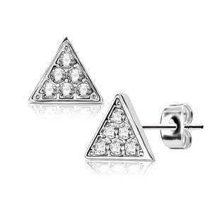 resell for 18.00 or more Surgical Steel Rhodium Pair of Crystal Paved Triangle Post Earring Studs  8mm Style #STES111918