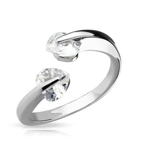 7.00 resell for 21.00 or more  Rhodium Plated Brass Adjustable Ring with Tension Set Heart CZ's, Width 5MM Style #HCZR111918
