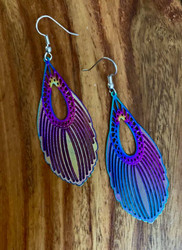 """resell for 21.00 or more 2 3/8 x 1"""" Titanium laser lace earrings surgical steel earwires Style #TFLLE111918"""
