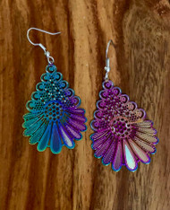 """resell for 21.00 or more  1 7/8 x 1 14"""" Titanium laser lace earrings surgical steel earwires Style #TLLOT111918"""