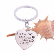 resell for 12.00 or more  All My Children Have Paws Love Heart Pendant Keychain  / pet / paw print Style #CHPK112118