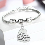 """resell for 18.00 or more 8"""" silver tone bracelet / plus ext chain If Love Could Have Saved You, You would have lived forever Heart charm bracelet Style #ILSY112118"""