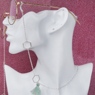 resell for 12.00 or more Eyeglasses Chain Holder Silver Plated Mint Green Honeycomb Cotton Tassel. Style #TEC112118