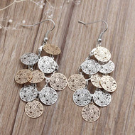 """resell for 15.00 or more 2 7/8"""" drop multi metal/ laser lace/ ornate circle/ light weight Style #CDLLE112818"""