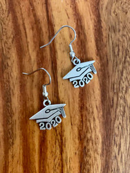resell for 9.00 or more  Pewter Graduation 2020 earrings surgical steel ear wires Style #20GE120318