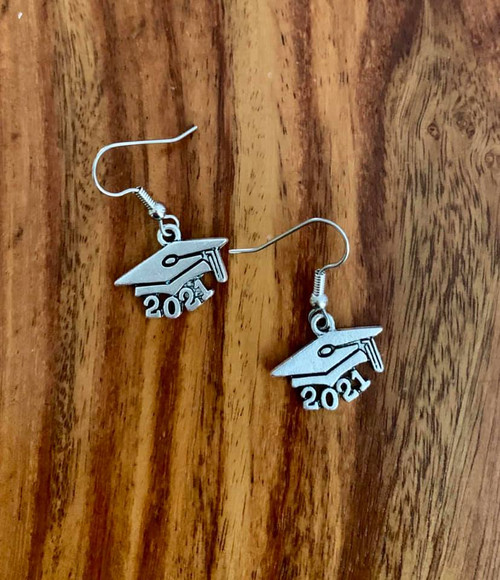 resell for 9.00 or more  Pewter Graduation 2021 earrings surgical steel ear wires Style #21GE120318