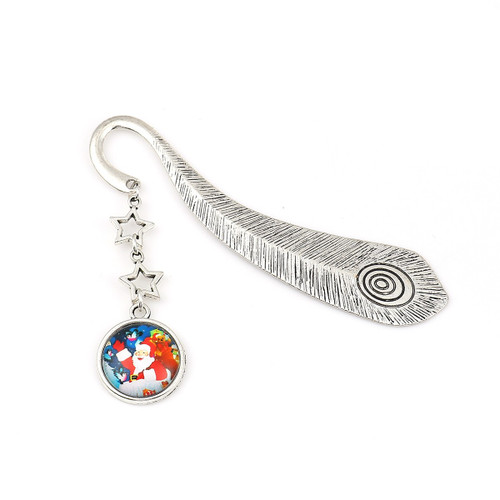 "resell for 9.00 or more Bookmark/ Feather/ Antique Silver Multi color Christmas Santa Claus 10.5cm(4 1/8"") x 8.3cm(3 2/8"") Style #SCBM120518"