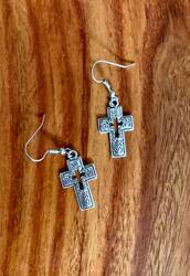 "resell for 9.00 or more Pewter swirl pattern cross earrings approx 1"" x 1/2"" Surgical steel ear wires Styles #PSCE120518"