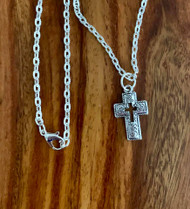 "resell for 12.00 or more 20"" silver tone chain Pewter swirl pattern cross necklace approx 1"" x 1/2"" Style #PCN120518"