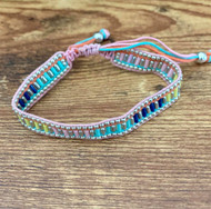 Resell for 36.00 or more Fits 7-9 inch bracelet Boho style/macrame  knot/ waxed cotton cord silver plated steel, glass. Multi pink Style #PMBB120618