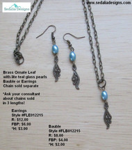 Brass ornate leaf with light teal glass pearl earrings; bauble & chain separately