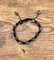 resell for 15.00 or more **AT WEBSITE Spider Web Jasper (natural) and nylon, black, 7- to 10-inch bracelet with macramé knot closure/ Unisex Style #SWJB120718