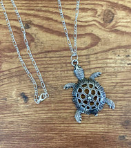 "resell for 15.00 or more 30 inch silver tons figaro chain pewter tribal tortoise/ turtle pendant 2 1/4"" x 1 1/2"" Style #TTN120718"