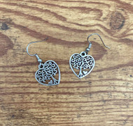 """resell for 12.00 or more Pewter tree of life heart earrings  3/4"""" x 5/8""""  surgical steel earwires Style #TLHE120718"""