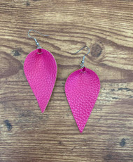 "resell for 18.00 or more **also at website Hot Pink Leatherette leaf earrings 2 1/4 x 1 1/4"" Surgical steel ear wires Style #HPLE120718"