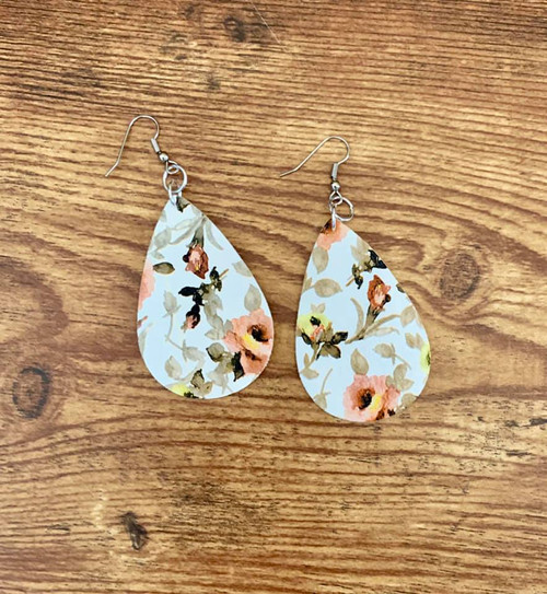 """Resell for 18.00 or more  Leatherette Beige Peach White  earrings  2 1/8 x 1 3/8"""" Surgical steel ear wires Style #RBPFLE120718"""