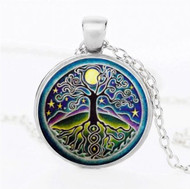 resell for 15.00 or more  22 inch silver tone chain Mystic Tree of Life Plated pewter/ blue/ purple/ green