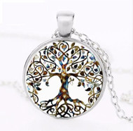 resell for 15.00 or more **also at website 22 inch silver tone chain Multi Color Tree of Life Plated pewter