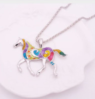 "resell for 21.00 or more 19"" silver tone chain Enameled Horse / Plated pewter 2"" x 1 1/2"" Multicolor Style #EHN120818"
