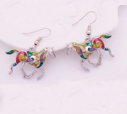 """resell for 18.00 or more Plated pewter/ Enameled Horse Earrings 1"""" x 3/4 """" Multi Color  Style #EHE120818"""